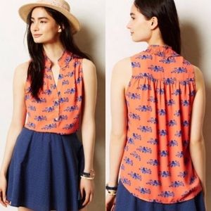 Anthro Pink Blue Maeve Fitz Octopus Sleeveless Top